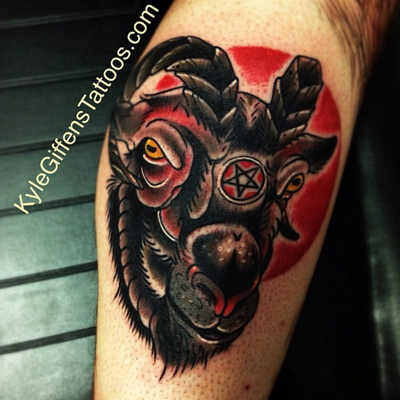 satanic goat tattoo images galleries with a bite. Black Bedroom Furniture Sets. Home Design Ideas