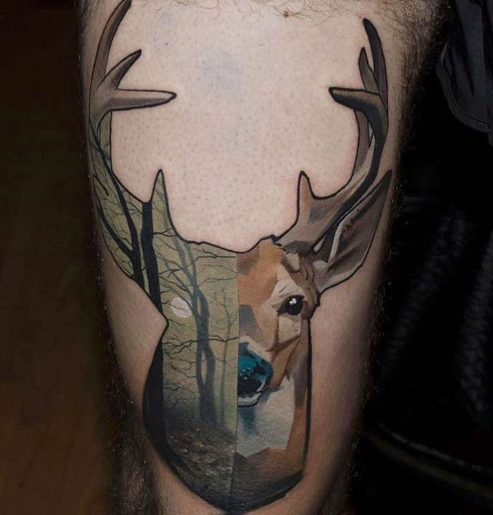 Old school colored deer tattoo stylized with dark forest