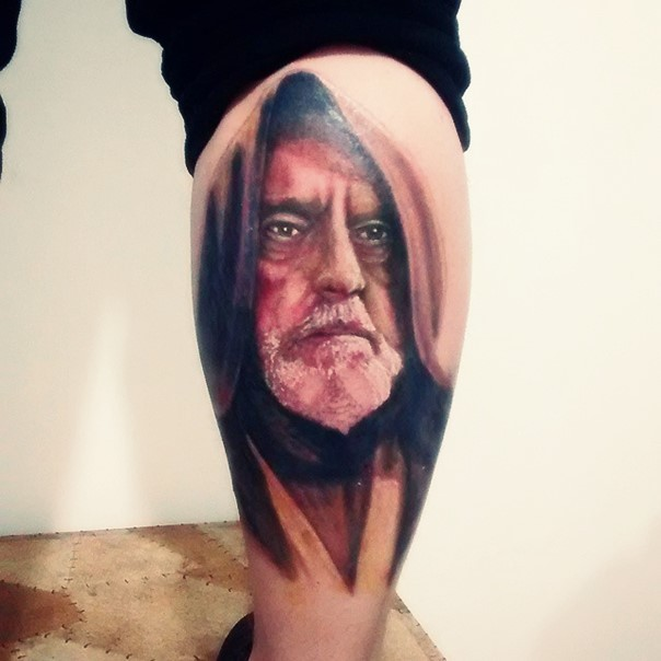 Old school colored detailed Obi Wan Kenobi on leg portrait tattoo