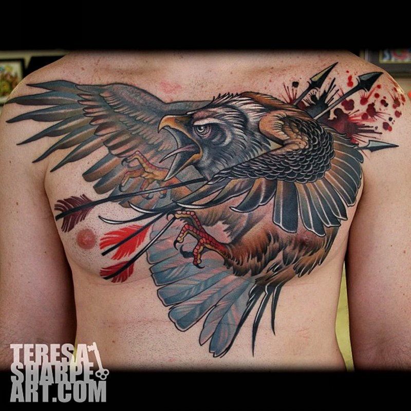 Old school colored dramatic chest tattoo of eagle with arrows in chest