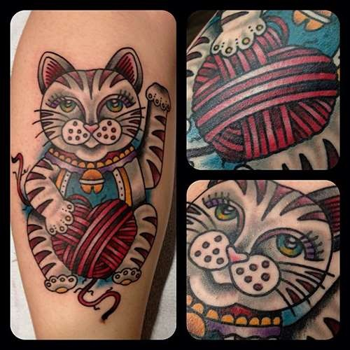 Old school colored funny cat tattoo