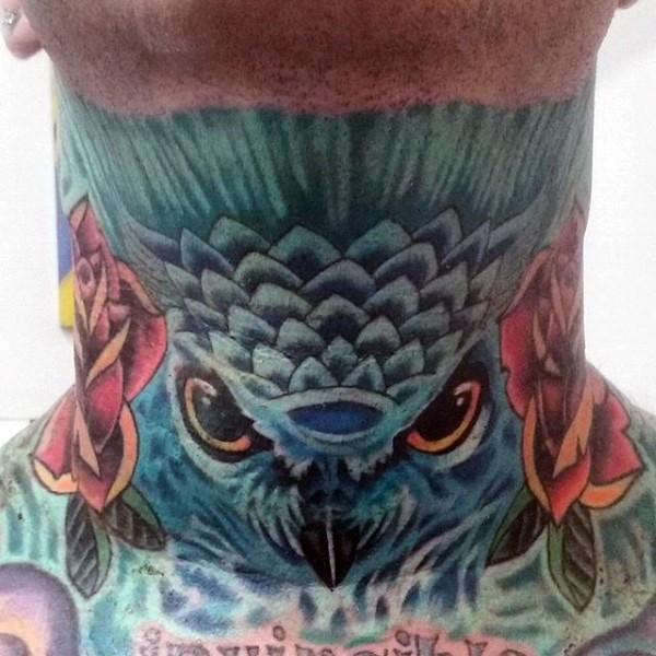 Old school colored neck tattoo of blue owl