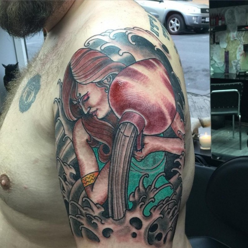 Old school colored shoulder tattoo of cute woman Aquarius