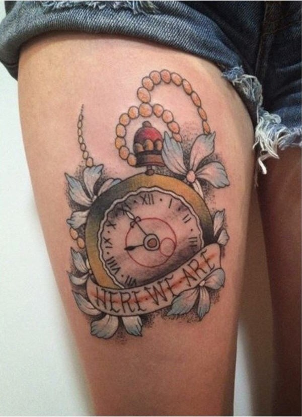 Old school colored vintage clock tattoo on thigh with flowers and lettering