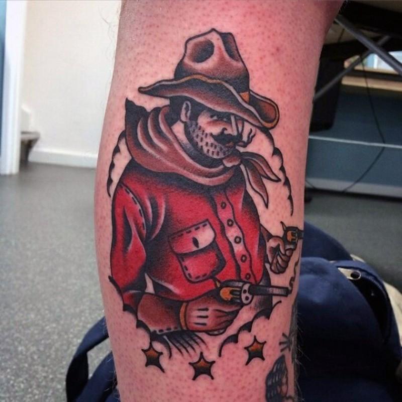 Old school colored western cowboy tattoo on leg
