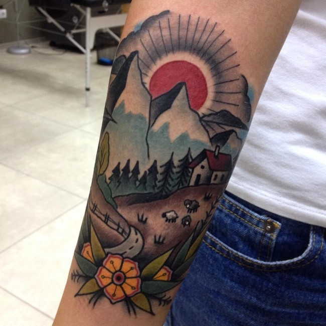 Old school colorful countryside house tattoo on forearm stylized with nice flower