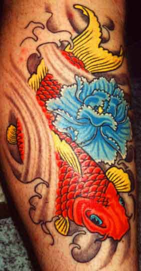 Old school colorful tattoo with goldfish