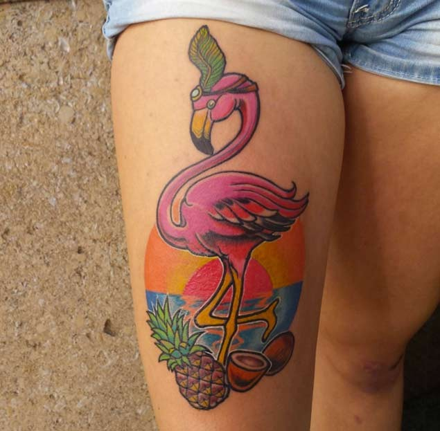 Old school colorful thigh tattoo of flamingo with various for Colorful thigh tattoos