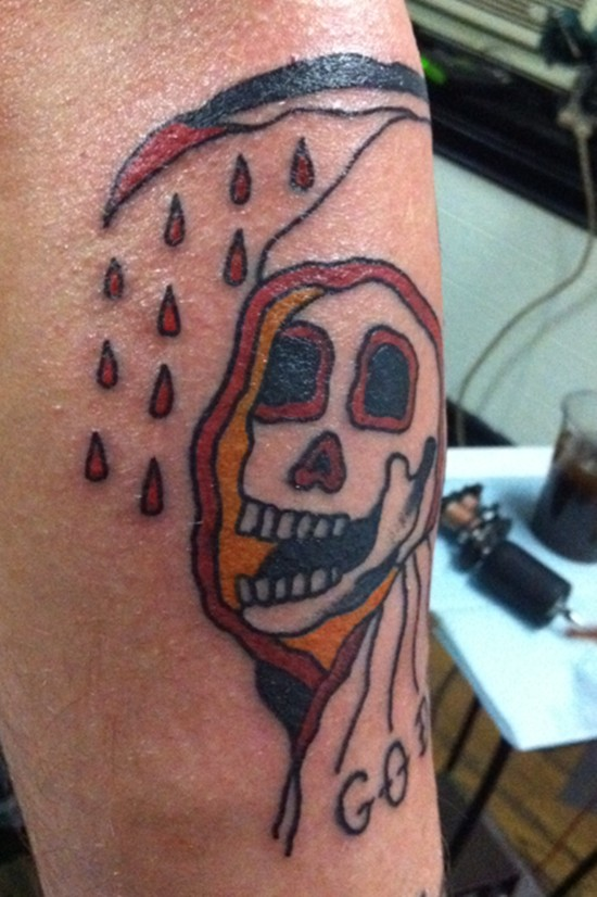 Old school coloured grim reaper tattoo
