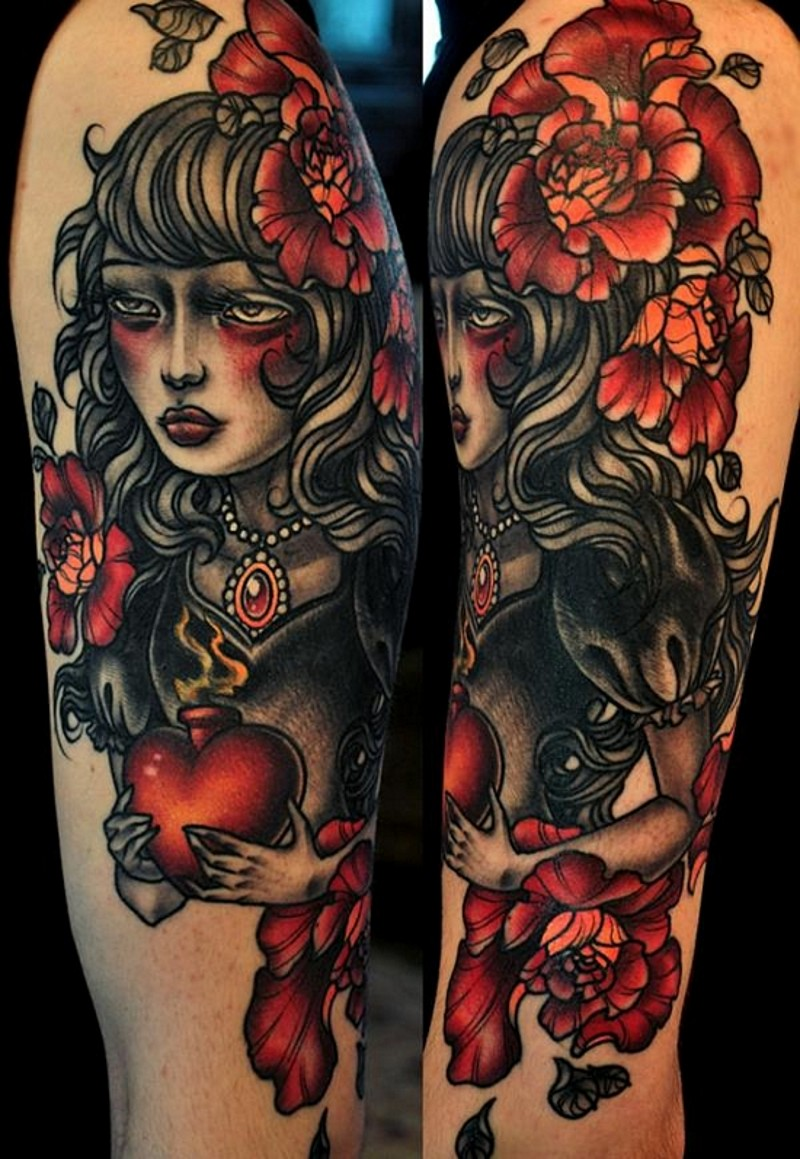 Old school designed sad gypsy woman colored shoulder tattoo stylized with red heart and big roses