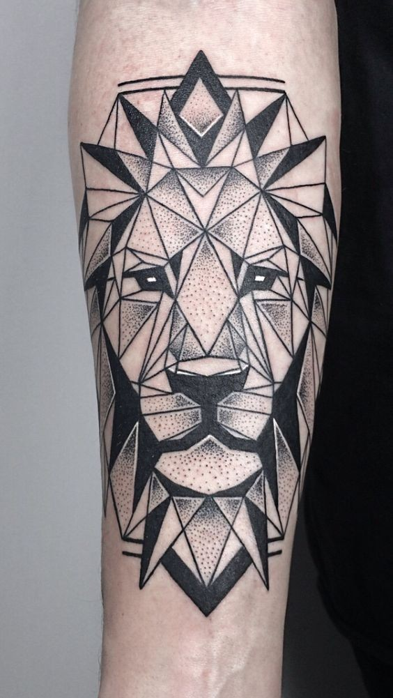 Old school geometrical style black ink forearm tattoo of lion portrait