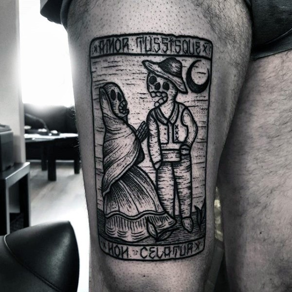 Old school homemade like black ink Mexican native card tattoo on thigh with lettering