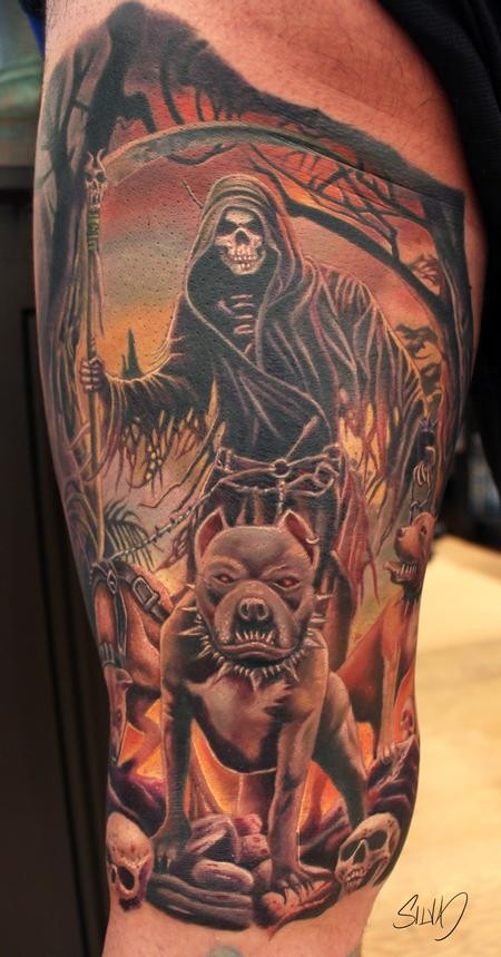 Old school illustrative style thigh tattoo of grim reaper with hell dog