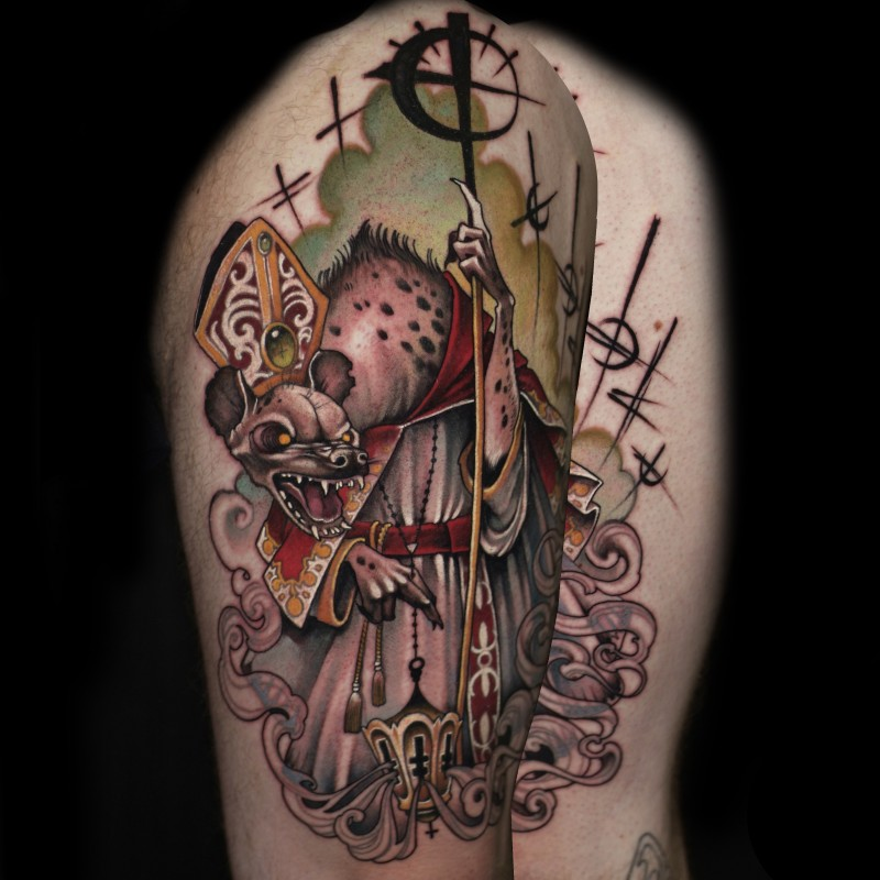 Old school multicolored creepy rat pope tattoo on shoulder  with various symbols