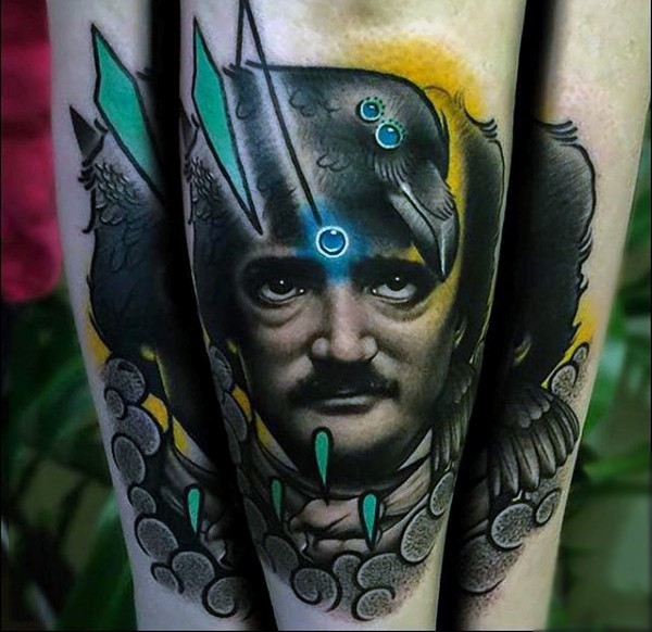 Old school multicolored man portrait with crow tattoo on leg
