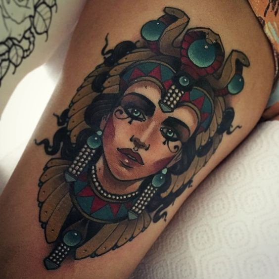Old school multicolored tribal woman portrait tattoo