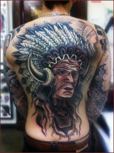 Old school original designed colored whole back tattoo of old Indian chief