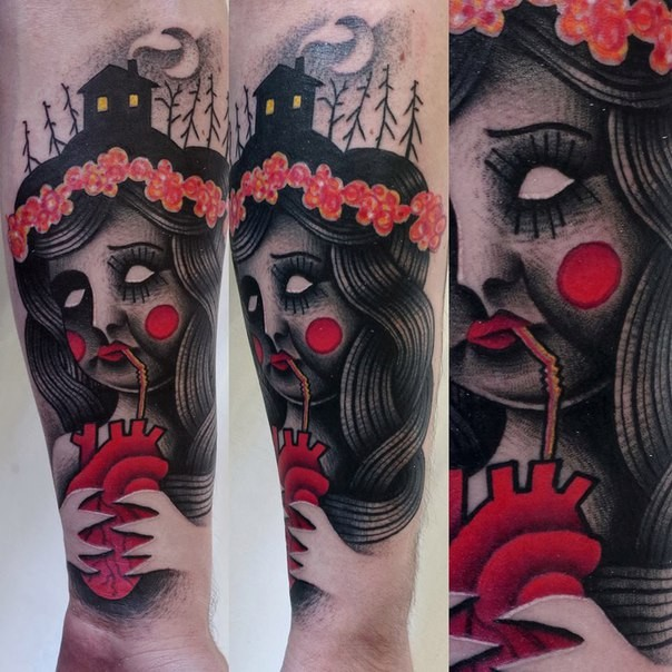 Old school school style colored forearm tattoo of creepy woman with heart and flowers