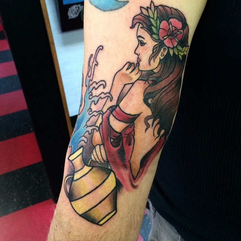 Old school simple colored arm tattoo of cute woman with water amphora