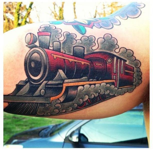 Old school style big biceps train tattoo