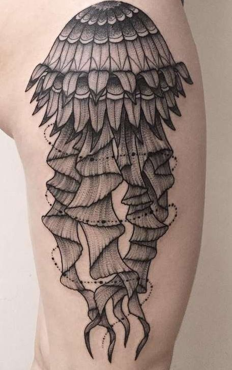 Old school style black and white massive mermaid tattoo on thigh