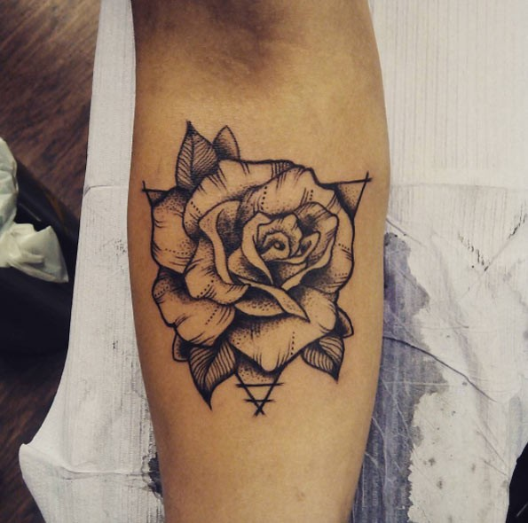 Old School Style Black And White Rose Flower Forearm Tattoo With
