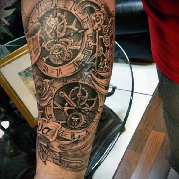 Old school style black ink forearm tattoo of mechanical clock with rose and lettering