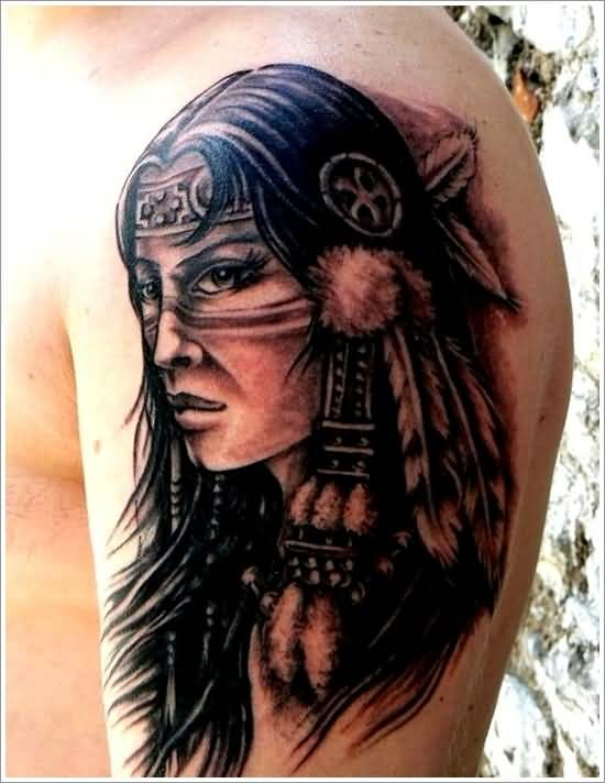 Old school style black ink Indian woman portrait on shoulder area