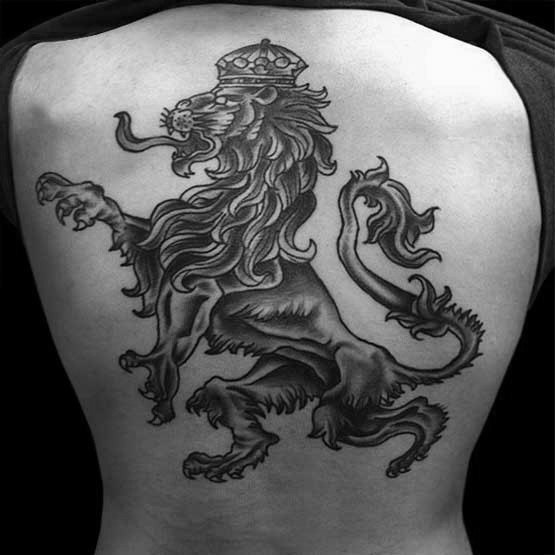 Old school style black ink lion tattoo on upper back