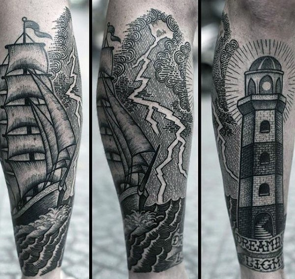 Old school style black ink stormy sea with ship and lighthouse tattoo on leg