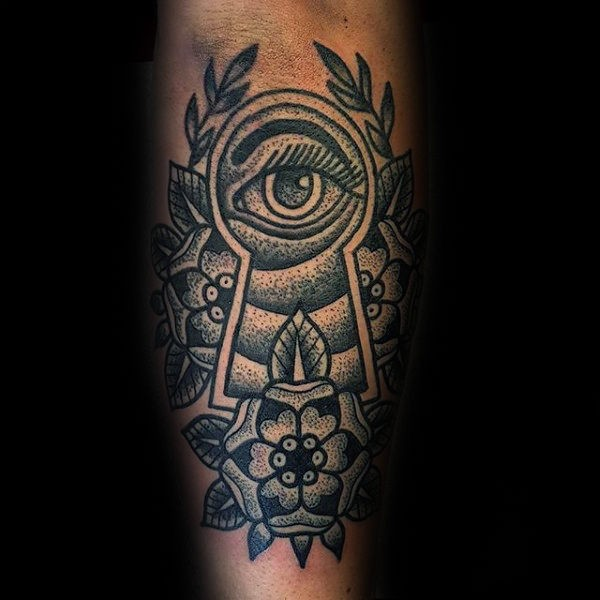 Old school style black ink tattoo of eye looking through keyhole with flowers