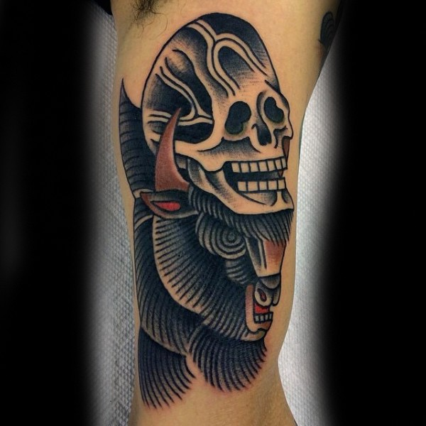 Old school style colored arm tattoo of big bull with human skull