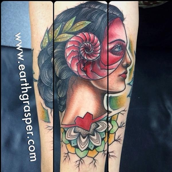Old school style colored arm tattoo of gypsy woman