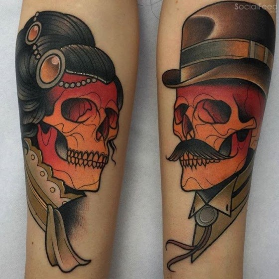 Old school style colored arm tattoo of woman and man skeleton