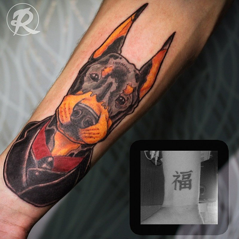 Old school style colored arm tattoo of cute dog in suit