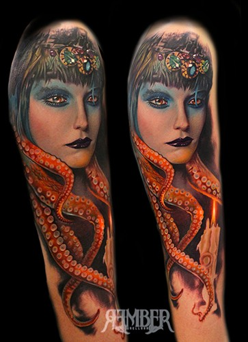 Old school style colored arm tattoo of creepy woman with octopus