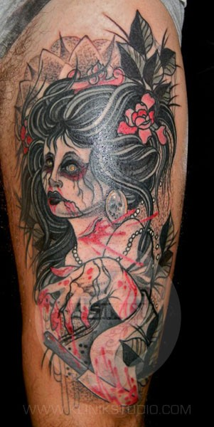 Old school style colored arm tattoo of zombie woman with flowers