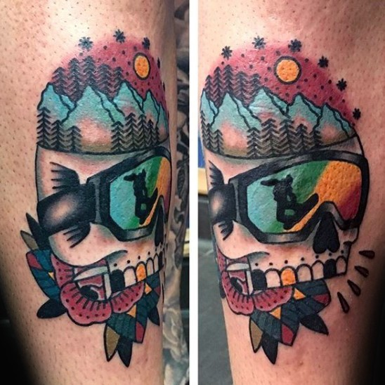 Old school style colored arm tattoo of snowboarders skull with flower