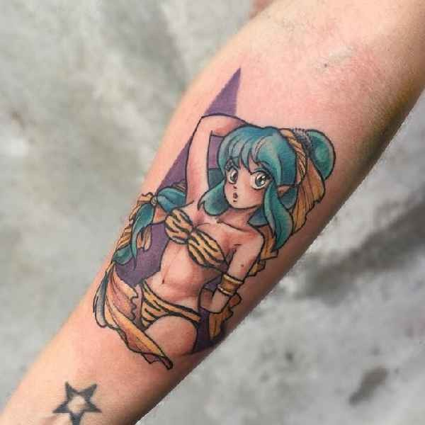 Old school style colored arm tattoo of sexy woman
