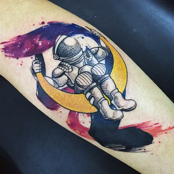 old school style colored astronaut on moon arm tattoo. Black Bedroom Furniture Sets. Home Design Ideas
