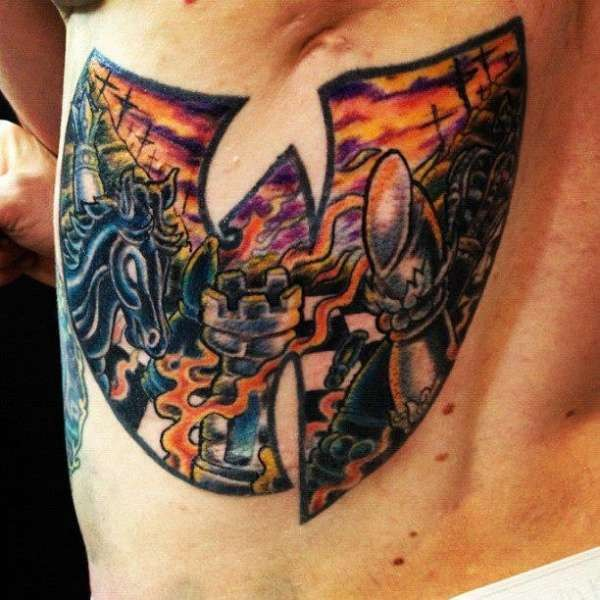 Old school style colored back tattoo of medieval knight