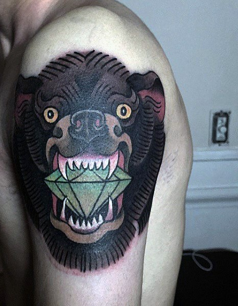 Old school style colored big bear with green diamond tattoo on shoulder
