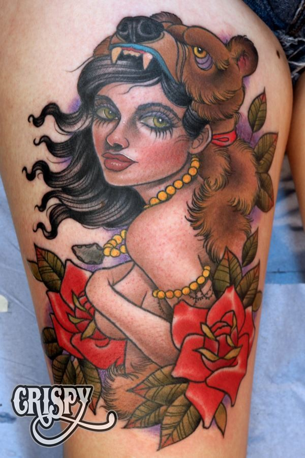 Old school style colored big thigh tattoo of gypsy woman with flowers and necklace