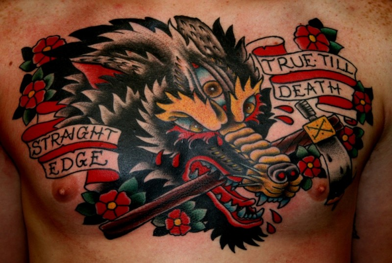 Old school style colored chest tattoo of evil wolf with lettering and axe