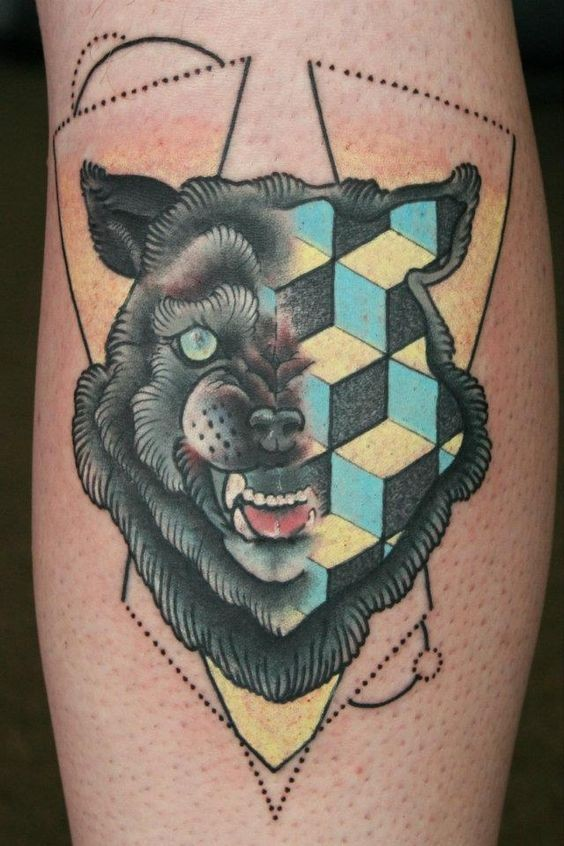 Old school style colored demonic wolf tattoo  combined with geometrical figures
