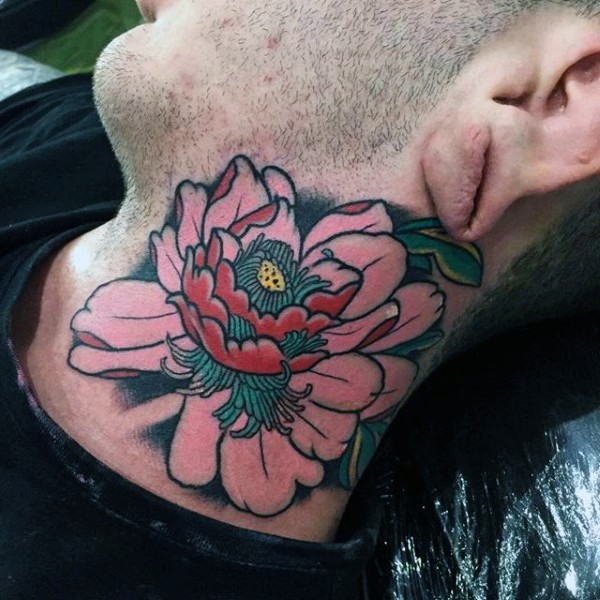 Old school style colored flower tattoo on neck
