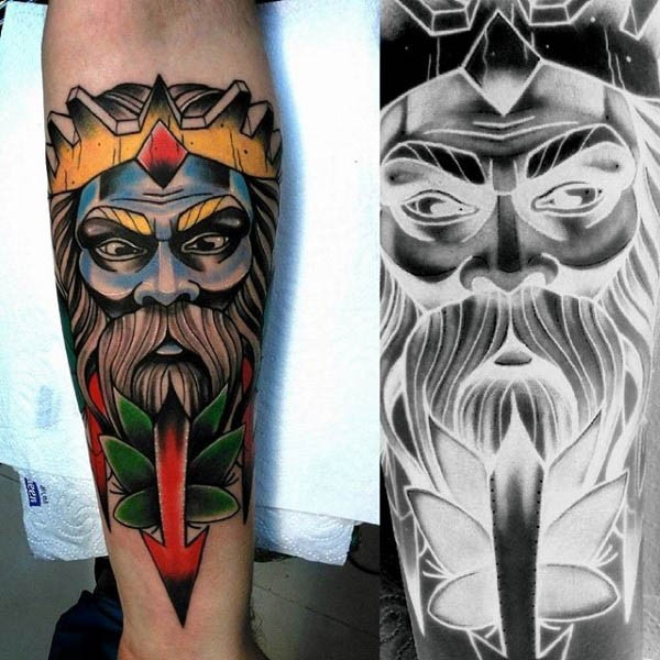 Old school style colored forearm tattoo of fantasy man portrait