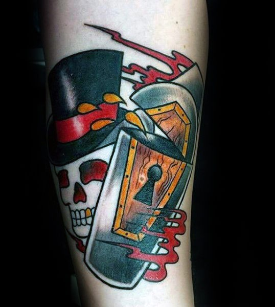 Old school style colored forearm tattoo of skeleton with coffin