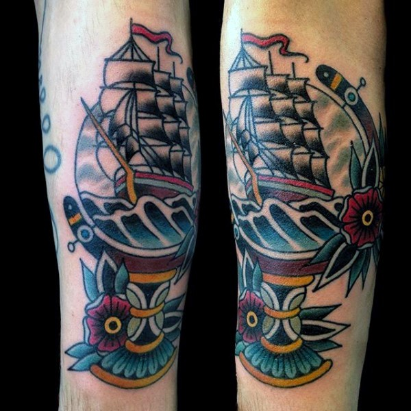 Old school style colored globe with sailing ship and roses