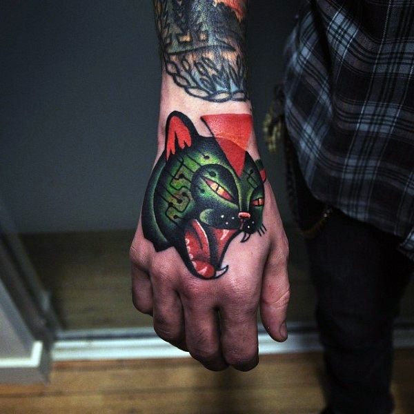 Old school style colored hand tattoo of roaring cat and red triangle
